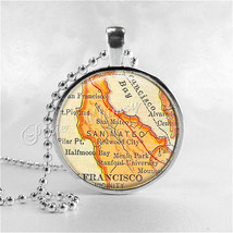 CALIFORNIA SAN FRANCISCO Bay Map Necklace, San Mateo, Stanford, Menlo Pa... - $12.95
