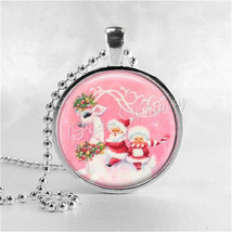 VINTAGE SANTA and REINDEER Necklace, Pink Christmas, Vintage Christmas, ... - $12.95