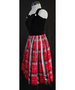 Vintage Alice Junior California Black Velvet Bodice Dress & Striped Sati... - $59.99