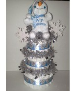SnowmanThemed Baby Shower 3 Tier Baby's First Christmas Diaper Cake Cen... - $40.00