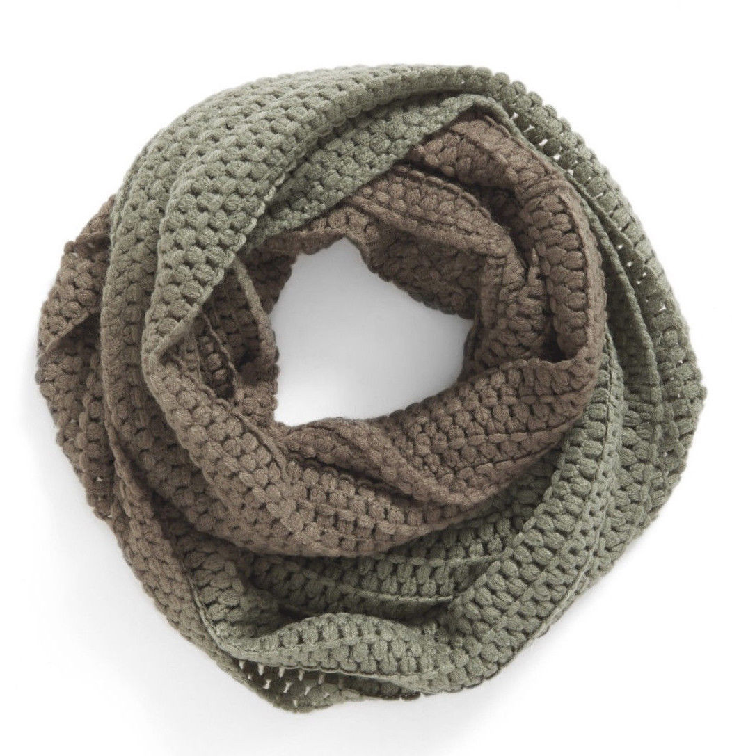 BP Women's Ombré Knit Infinity Scarf Olive Gradient Green Ombre Winter