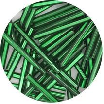 Czech Glass Bugle Beads 25mm ( 1 inch ) Green Silver Lined - $9.97