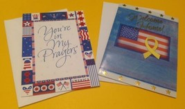 Two New Patriotic US Military Service USA American Flag Greeting Cards - $17.58