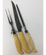 Sterling Marshall Field & Co Lee Celluloid French Ivory 3 Carving Set 18... - $75.99