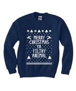 Funny Merry Christmas Ya Filthy Animal Navy Ugl... - $26.95