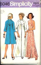 1970s Size 16 Bust 38 Dress Coat Evening Gown Simplicity 6046 Pattern Maxi - $9.99