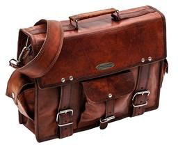 "15"" Men Women Vintage Genuine Leather Cross Body Satchel Messenger Shoul... - $65.63"