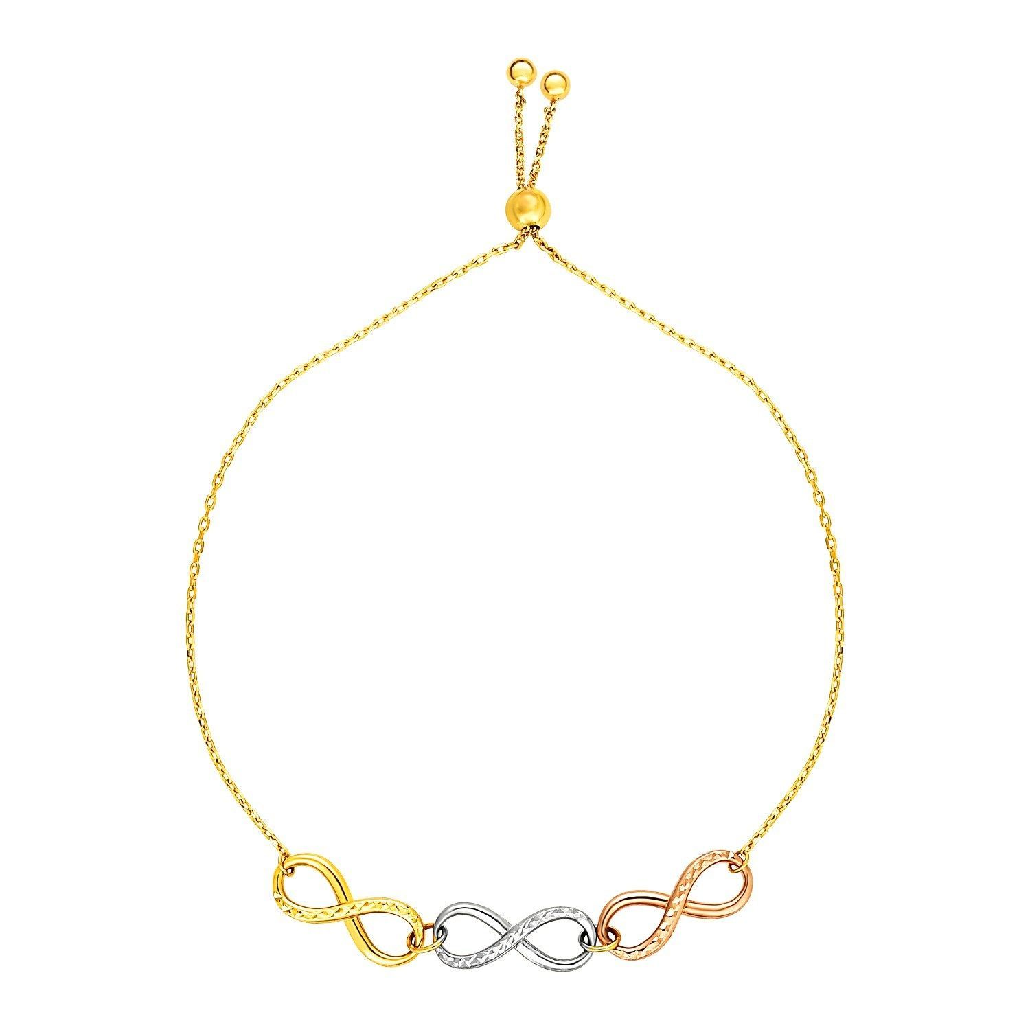 Adjustable Bracelet with Infinity Symbols in 14k Tri Color Gold Womens Girls