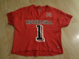 Women's Nebraska Cornhuskers #1 L Champion Football (Red) Jersey Huskers - $26.17