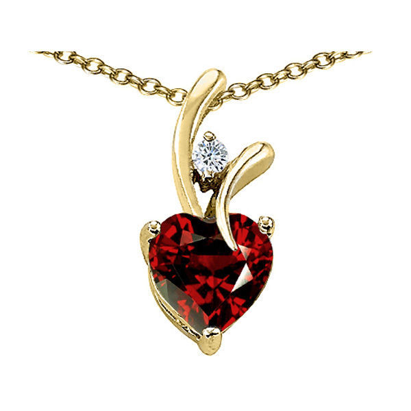 7MM OR 9MM HEART SHAPE GARNET PENDANT SOLID 14K YELLOW OR WHITE GOLD SETTING image 2