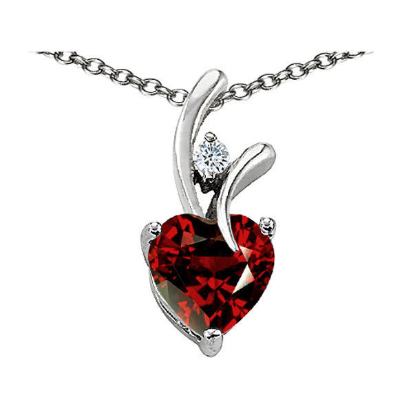 7MM OR 9MM HEART SHAPE GARNET PENDANT SOLID 14K YELLOW OR WHITE GOLD SETTING image 4