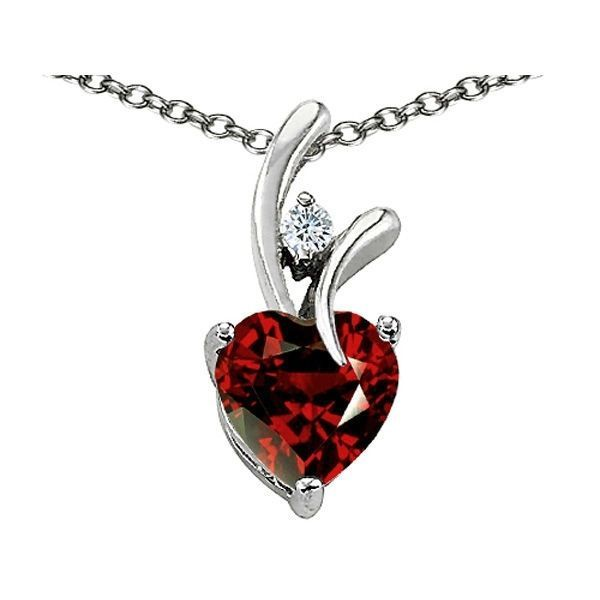 7MM OR 9MM HEART SHAPE GARNET PENDANT SOLID 14K YELLOW OR WHITE GOLD SETTING image 10