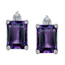 3.49 CT. 8x6MM 14K W OR Y GOLD COVERED SILVER AMETHYST EMERALD CUT STUD ... - $31.19