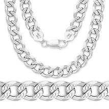 8mm Link Solid 925 Italy Sterling Silver Men's Italian Cuban Curb Chain ... - $144.63+