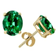 2.00 - 3.50 CT 14K YELLOW GOLD COVERED SILVER EMERALD OVAL SHAPE STUD EA... - $27.02+