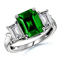 7.25 CARAT 14K THREE STONE WHITE GOLD SOLID SETTING EMERALD RING SIZE 7 - £235.29 GBP
