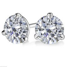 1.00 Ct Round Solitaire Stud Earrings Martini Screw Style Solid 14k Whit... - $82.28