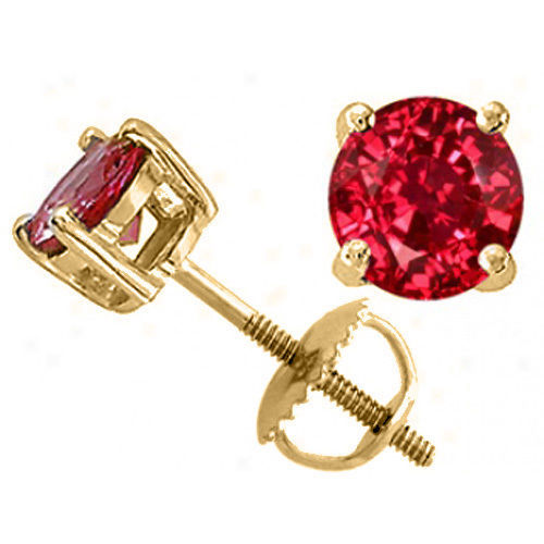 1.00 CARAT 14K SOLID SCREW BACK YELLOW GOLD ROUND SHAPE RUBY STUD EARRINGS
