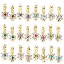925 Silver 14k Y Gold Dangling Birthstone Flower Cubic Zirconia Drop Ear... - $20.26
