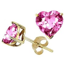 1.00 - 3.00 CT 14K YELLOW GOLD COVERED SILVER HEART ROSE SAPPHIRE STUD E... - $19.79+