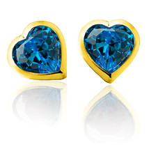 3mm - 6mm Heart Topaz Screw Back Earrings 14K Yellow Gold Adult & Children - $13.11+