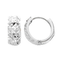 14K White Gold Multifaceted Polished Rounded Hoop Huggies Earring - $138.98+