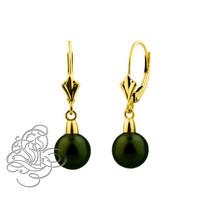 14k Yellow Gold 9mm Dark Green Crystal Ball Drop Lever back Earrings - $92.94