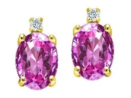 3.52 CARAT 14K YELLOW GOLD COVERED SILVER PINK SAPPHIRE OVAL SHAPE STUD ... - $34.30