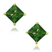 Emerald Square Princess Cut CZ Crystal YG 925 Sterling Silver Stud Earrings - $13.50+