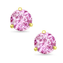 Martini Round Cut Pink Rose CZ 14k Yellow Gold Sterling Silver Stud Earr... - $13.11+