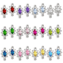 Gemstone 14k White Gold Dangling Birthstone Huggie Leverback Earrings 12... - $105.28