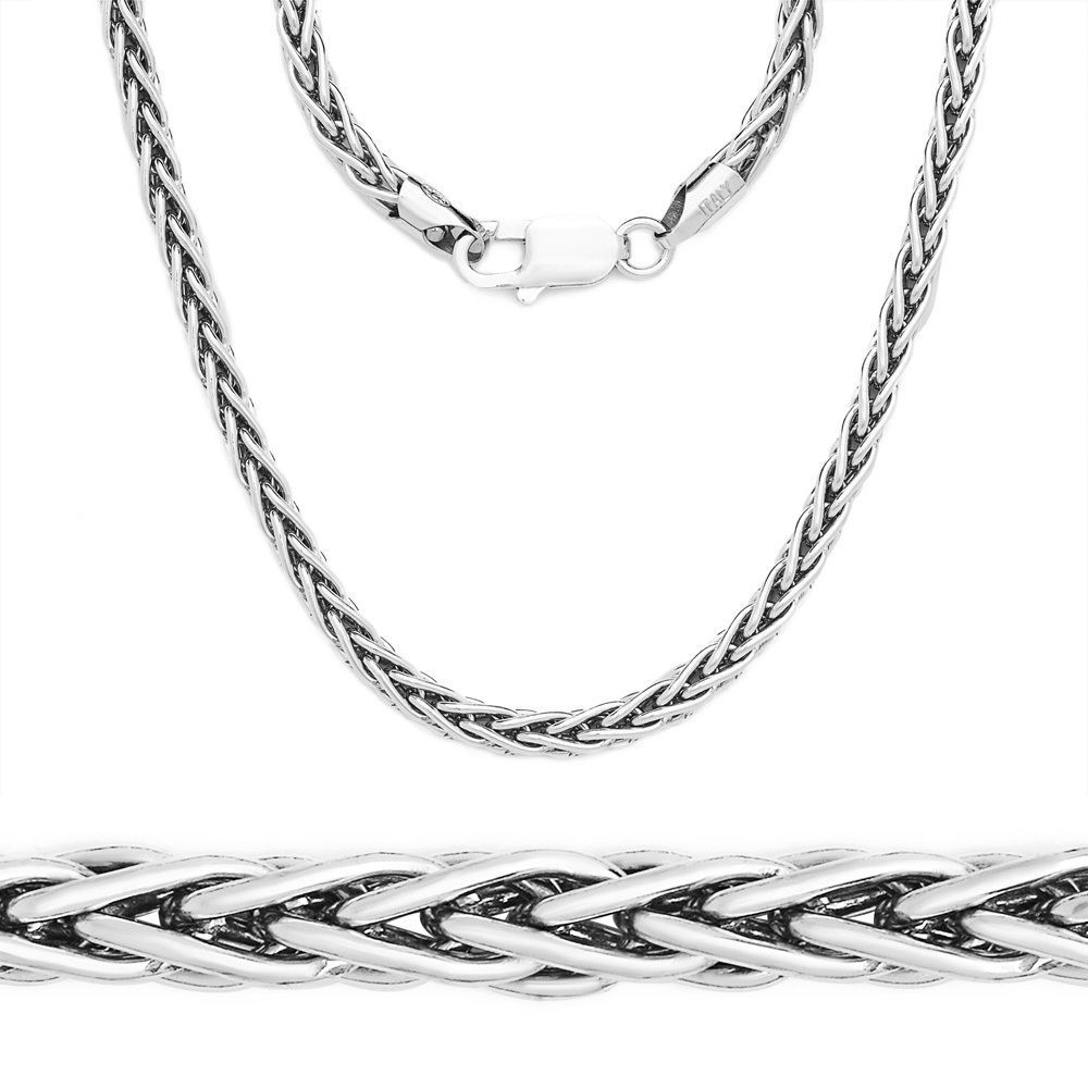 4.2mm 925 Italy Sterling Silver Wheat Spiga Rope Link Chain Necklace Solid NEW