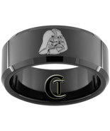 Tungsten Mens Ring 10mm Black Beveled Darth Vad... - $49.00