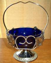 Cobalt blue glass condiment dish basket england 1 thumb200