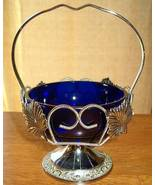 English Cobalt Blue Glass Dish in Silvertone Metal Basket - $14.95