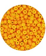Czech Glass Seed Beads Size 6/0 ( E beads) Yellow Red Pinstripe - $8.92