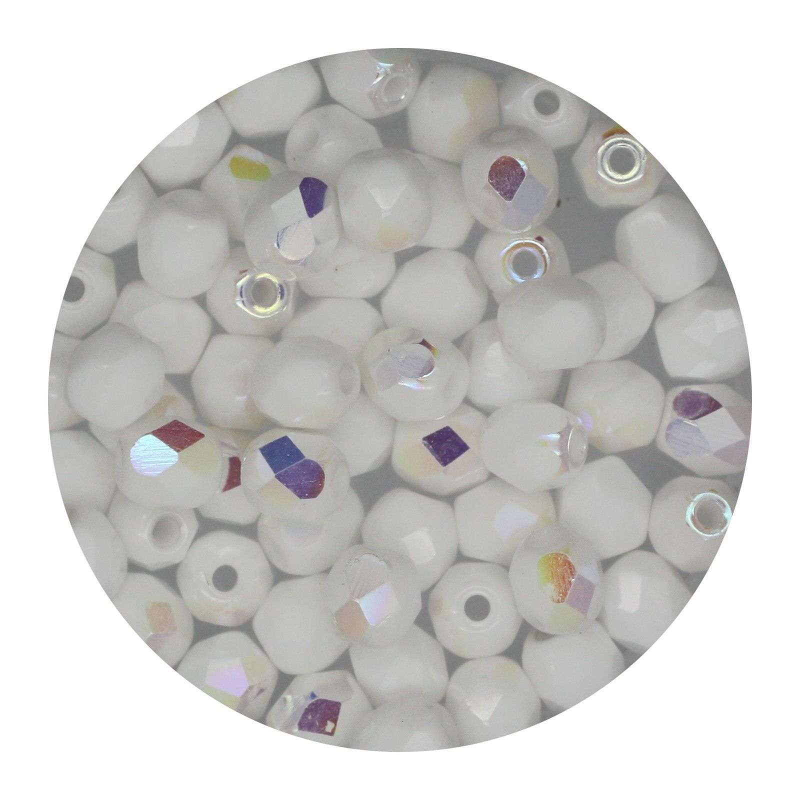 Faceted Fire Polish Beads Czech Glass 4mm Chalk White Ab