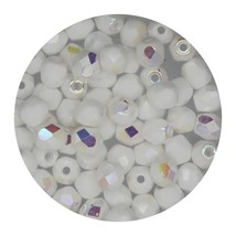 Faceted Fire Polish Beads Czech Glass 4mm Chalk White Ab - $7.94