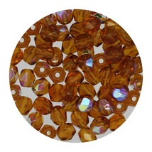 Faceted Fire Polish Beads Czech Glass 4mm Dark Topaz Ab - $7.94