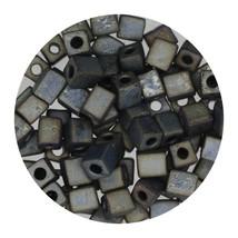 Square Glass Beads Japan 4mm Miyuki Cube Metallic Blue - $6.94