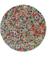 Czech Glass Seed Beads Size 6/0 ( E beads) Crystal Green Red Stripe - $8.92