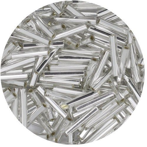 Primary image for Czech Glass Bugle Beads Size 5 Silver (Crystal Silver Lined)