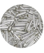 Czech Glass Bugle Beads Size 5 Silver (Crystal Silver Lined) - $7.94
