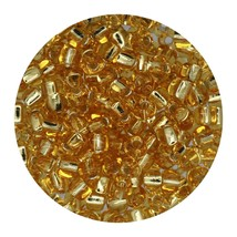 Glass Triangle Bead 8/0 Japan Silver Lined Gold - $7.94