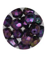 Faceted Fire Polish Beads Czech Glass 8mm Opaque Purple Iris - $7.94