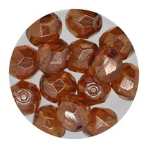 Faceted Fire Polish Beads Czech Glass 8mm Luster Topaz - $7.94