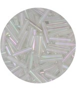 Czech Glass Bugle Beads Size 5 Clear Crystal Iris - $7.94