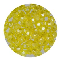 Faceted Fire Polish Beads Czech Glass 4mm Luster Dark Yellow - $7.94