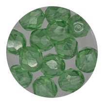 Faceted Fire Polish Beads Czech Glass 8mm Luster Mint - $7.94