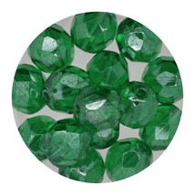 Faceted Fire Polish Beads Czech Glass 8mm Luster Emerald - $7.94